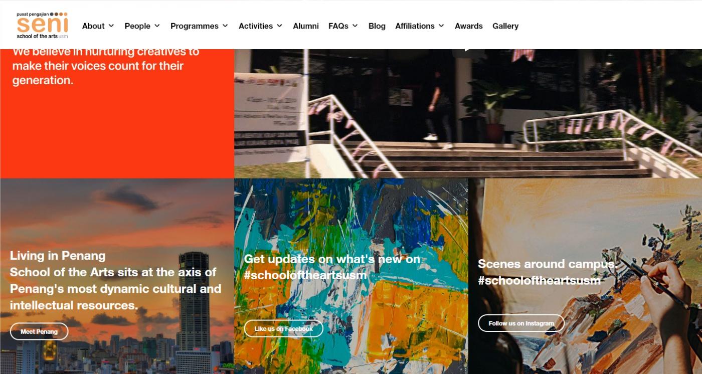 school of the arts website homepage